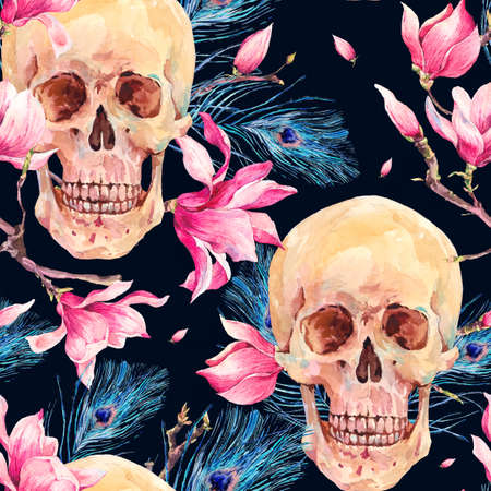 Vintage watercolor natural seamless pattern with human skull and pink flowers Magnolia, peacock feathers. Hand drawn illustration isolated on white background Stock Photo
