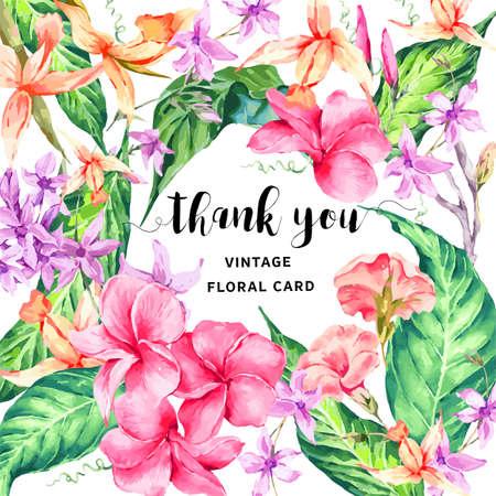Vector vintage floral tropicale carte de remerciements