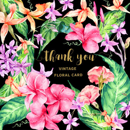 orchid: Vector vintage floral tropical Thank You card