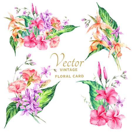 Ensemble de bouquet floral vintage vintage vintage