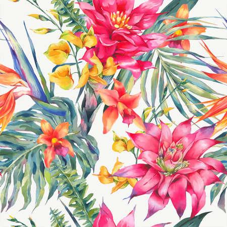ビンテージ花熱帯シームレス パターン ベクトル。  イラスト・ベクター素材