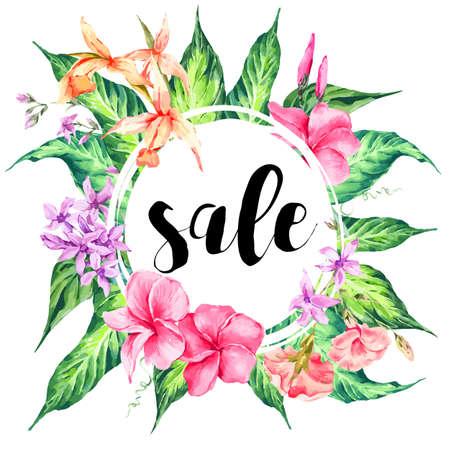 Carte de vente tropical vintage floral Vector