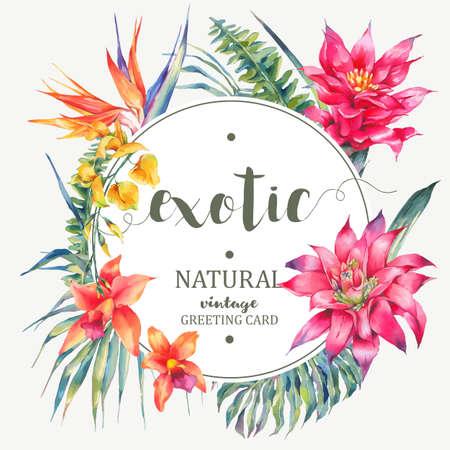 Vector vintage floral tropical round frame