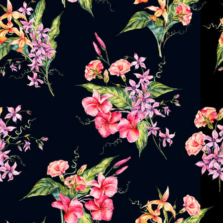 retro floral: Watercolor floral tropical seamless pattern.