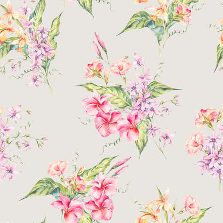 seamless floral pattern: Watercolor floral tropical seamless pattern.