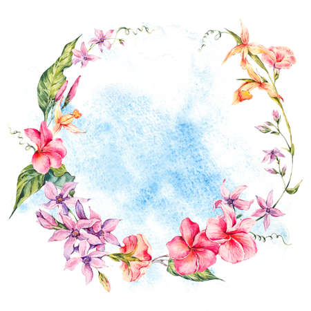 palm wreath: Exotic round frame, flowers, twigs and leaves.
