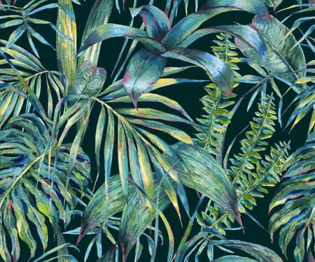 Natural leaves exotic watercolor seamless pattern Banco de Imagens - 72212714