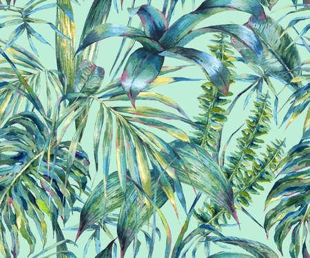 Natural leaves exotic watercolor seamless pattern Banco de Imagens - 72212715