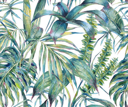 Natural leaves exotic watercolor seamless pattern Zdjęcie Seryjne - 72212725