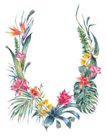 palm wreath: Natural summer exotic watercolor wreath