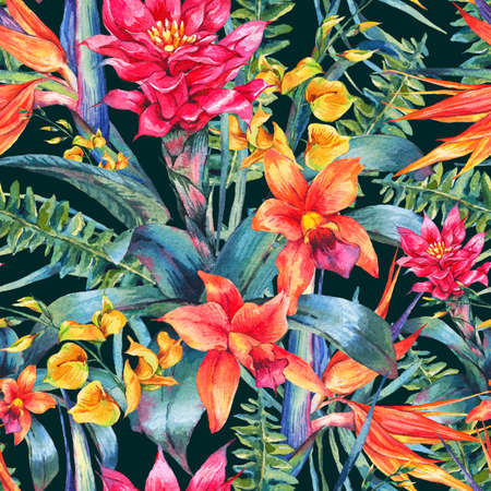 decorative wallpaper: Watercolor vintage floral tropical seamless pattern