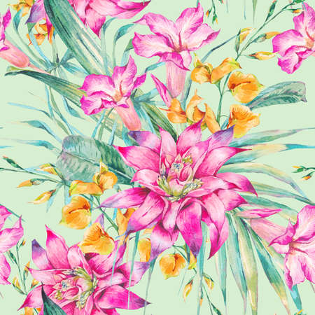 watercolor texture: Watercolor vintage floral tropical seamless pattern