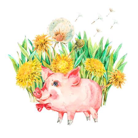 Carino maiale acquerello con fiori di primavera