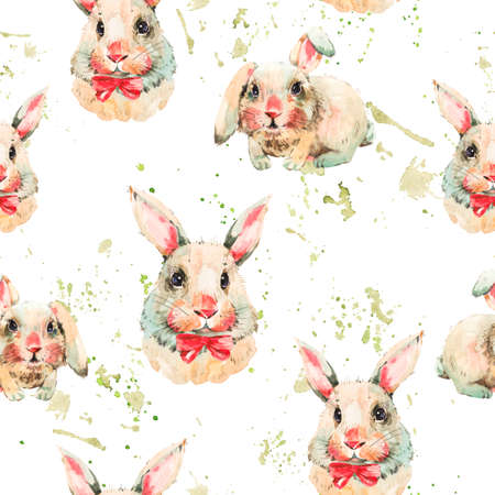 Watercolor seamless pattern with white rabbit