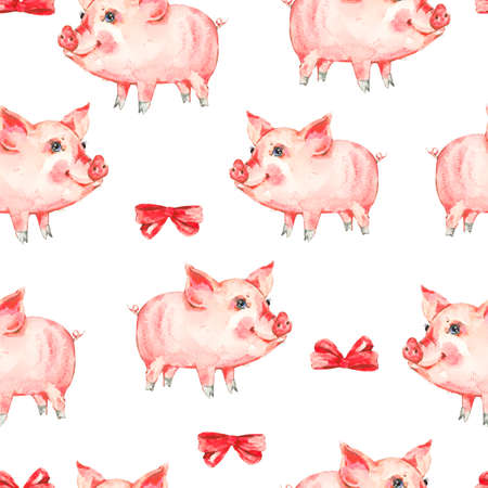 greeting cards: Watercolor seamless pattern with cute piggy Stock Photo