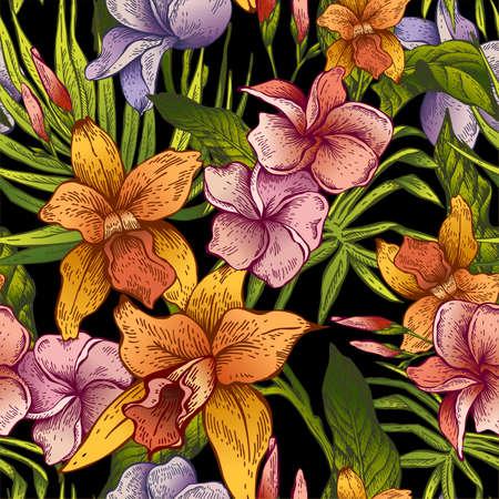 vintage pattern: Vector vintage floral tropical seamless pattern