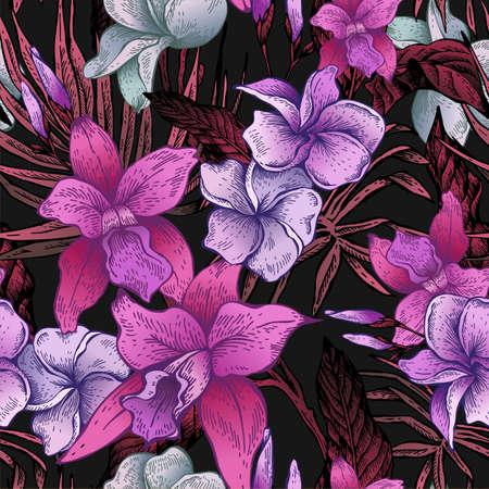 Vector vintage bloemen tropische naadloze patroon Stockfoto - 73256016