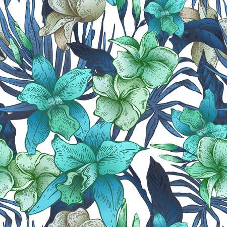 Vector vintage floral tropical seamless pattern Banco de Imagens - 73256039