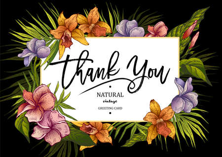 여름 가로 열대 빈티지 꽃 인사 장 카드 일러스트