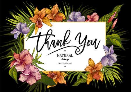 Summer Horizontal Tropical Vintage Floral Greeting Card