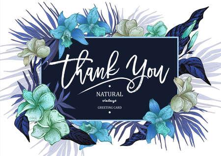 Carte de voeux d'été tropical florale vintage