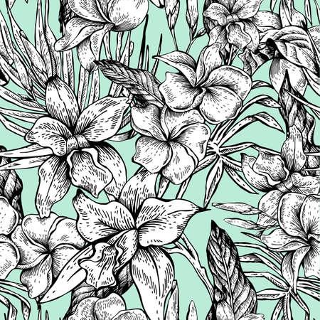 Vintage patrón transparente tropical floral del vector Foto de archivo - 73256055