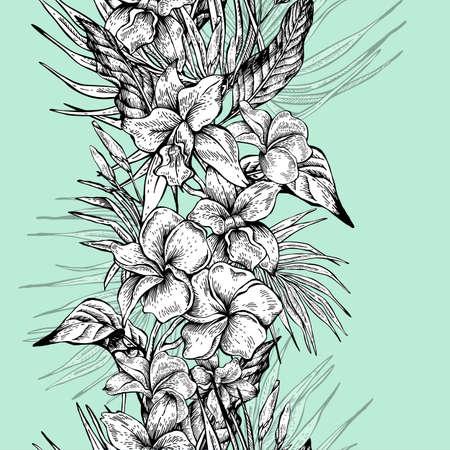 seamless tropical vintage floral vecteur