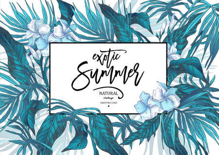 Vector Summer Leaves Vintage Exotic Greeting Card Reklamní fotografie - 73256083