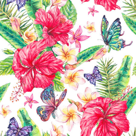 allover: Watercolor vintage floral tropical seamless pattern