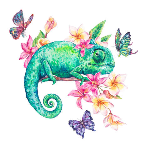 Watercolor green chameleon with butterflies, flowers