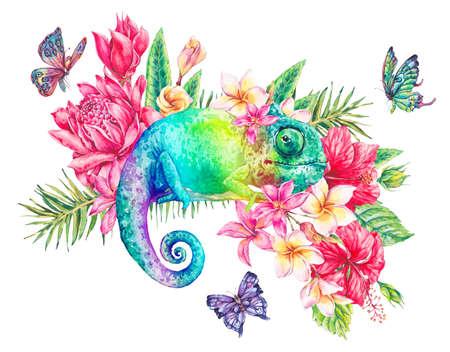 Waterverf groene kameleon met vlinders, bloemen