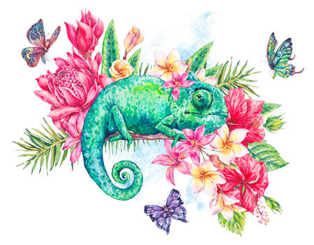 animal pattern: Watercolor green chameleon with butterflies, flowers