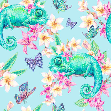 Watercolor seamless pattern with green chameleon