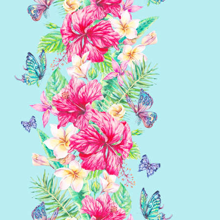 animal pattern: Watercolor tropical flowers seamless border