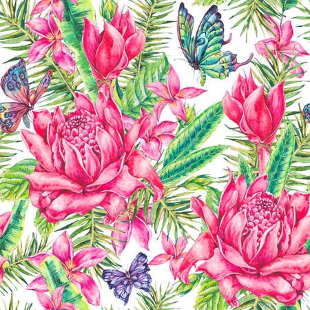 animal print: Acuarela patrón transparente tropical floral de la vendimia