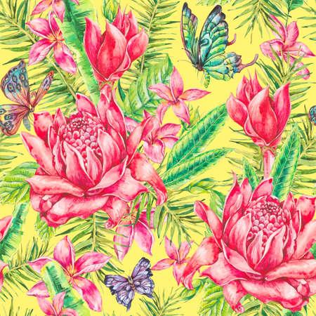 vintage patterns: Watercolor vintage floral tropical seamless pattern