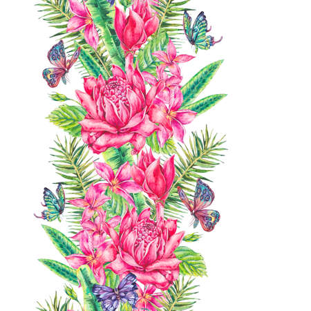 pink plumeria: Watercolor vintage tropical seamless border
