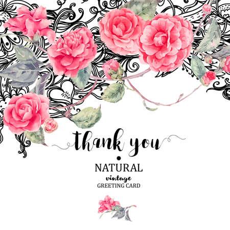 Vintage natuurlijke vector kant en camellia bloemen