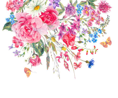 Watercolor bouquets of wildflowers and roses Stock Photo
