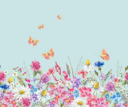 Waterverf naadloze grens met wilde bloemen Stockfoto