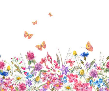 Acuarela frontera transparente con flores silvestres Foto de archivo - 77690828