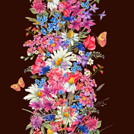seamless clover: Watercolor bouquets of wildflowers and butterflies