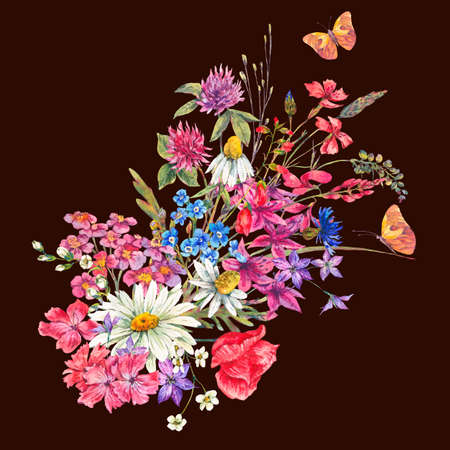 daisy pink: Watercolor bouquets of wildflowers and butterflies