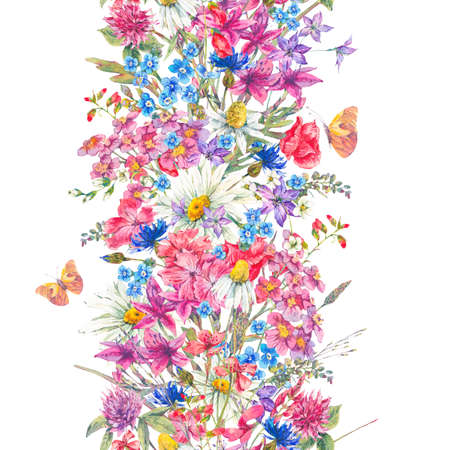 Watercolor bouquets of wildflowers and butterflies
