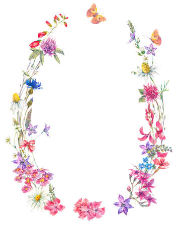 Watercolor summer wreath with wildflowers.