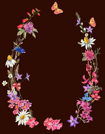 seamless clover: Watercolor summer wreath with wildflowers.