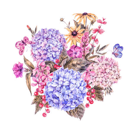 Shabby Watercolor Vintage Floral Greeting Card with Blooming Hydrangea, Red currant, wildflowers, botanical natural hydrangea Illustration on white background Stock Photo