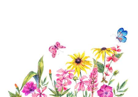 De groetkaart van de waterverf natuurlijke zomer met wildflowers. Weide-kruiden en vlinders. Botanische bloemenillustratie die op witte achtergrond wordt geïsoleerd