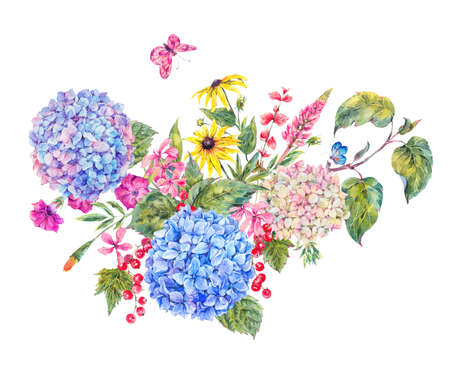 Summer Watercolor Vintage Floral Greeting Card with Blooming Hydrangea, Red currant, wildflowers, botanical natural hydrangea Illustration on white background