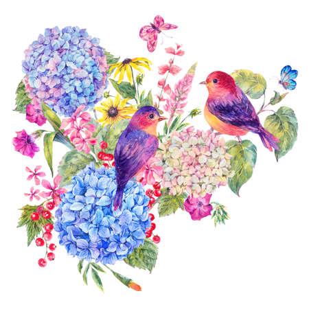 野生の花の水彩画とアジサイが咲く、鳥のペア夏の白い背景に分離された植物のグリーティング カード